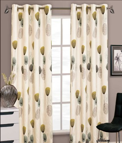 STYLISH FLORAL RING TOP EYELET LINED CURTAINS FAUX SILK TEAL LIME & CREAM COLOUR
